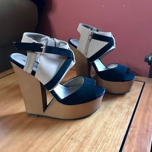 Qupid tan and black platform cut out wedges